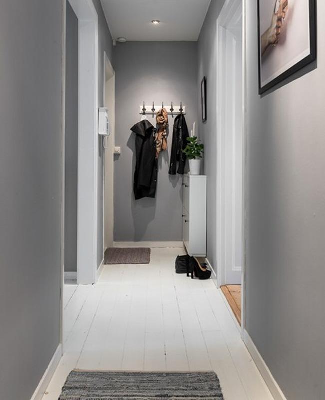 deco couloir gris mur