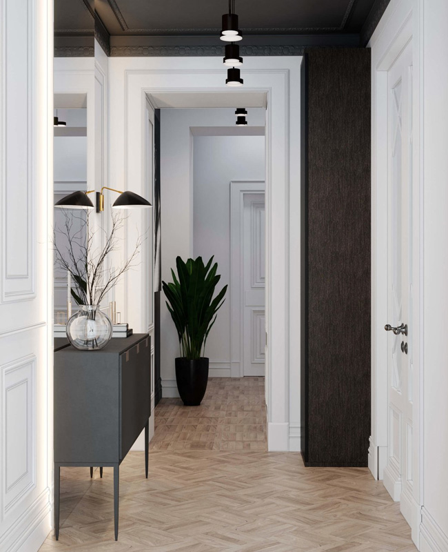 deco couloir gris plafond anthracite