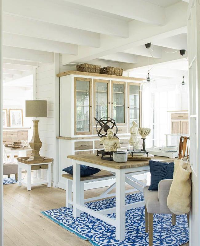 deco salle a manger bord de mer motifs bleu Cyclades