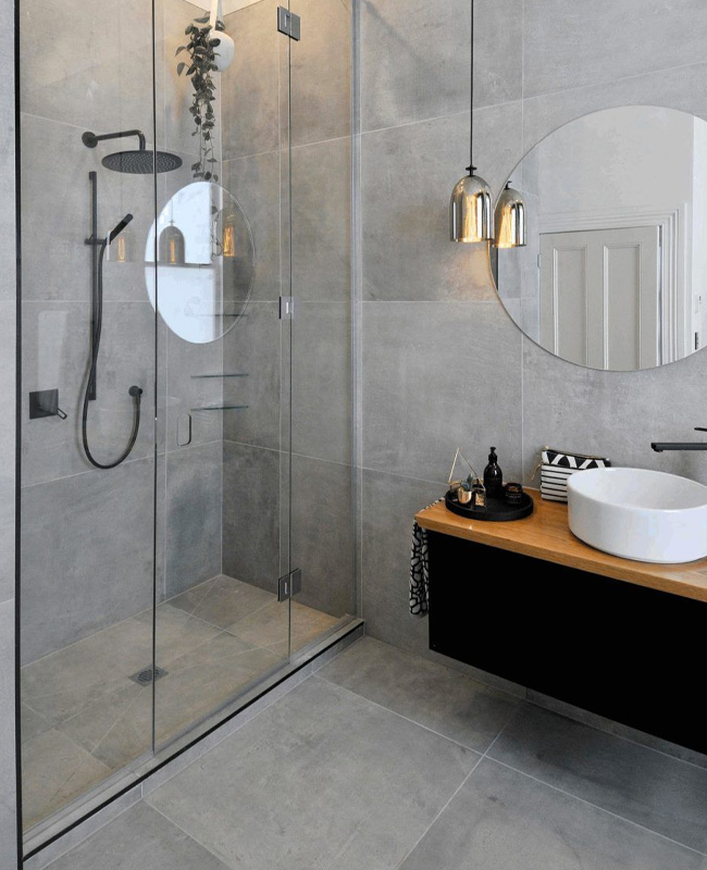 deco salle de bain gris carrelage béton