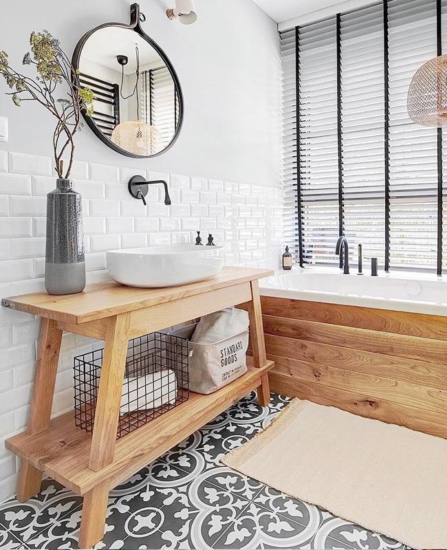 deco salle de bain gris carreaux de ciment