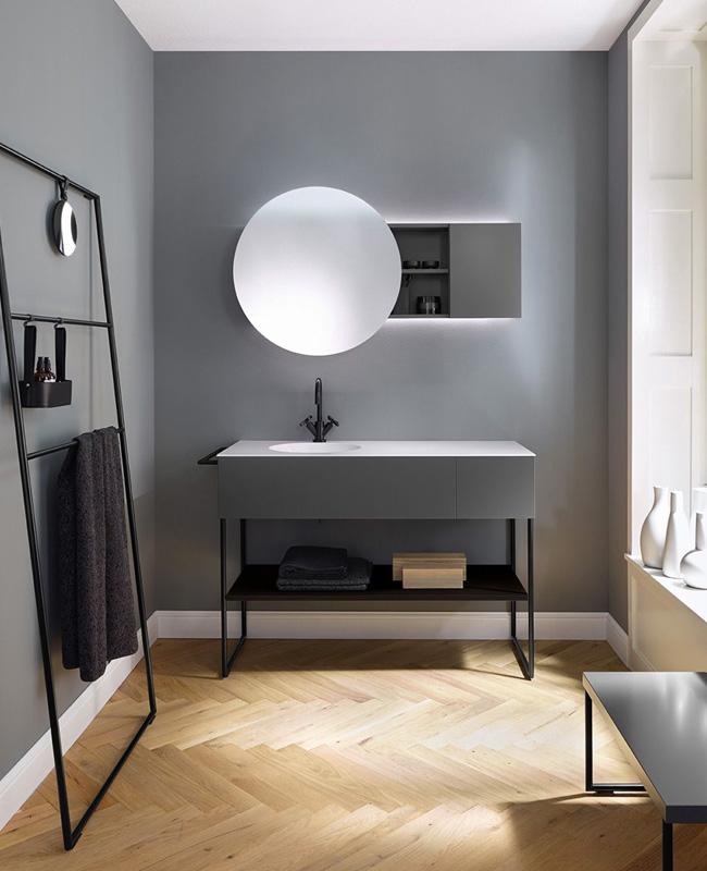 deco salle de bain gris moderne mur peinture