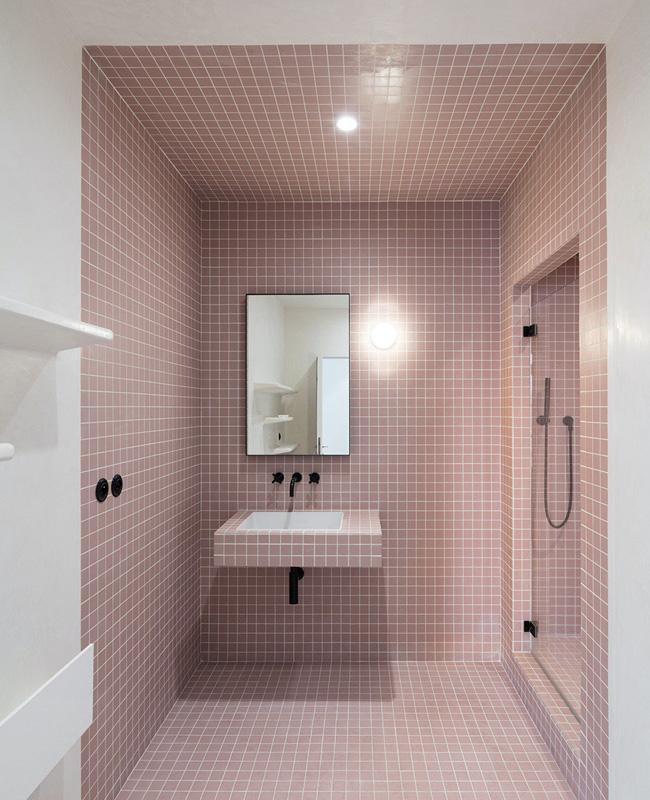 deco salle de bain noir rose moderne