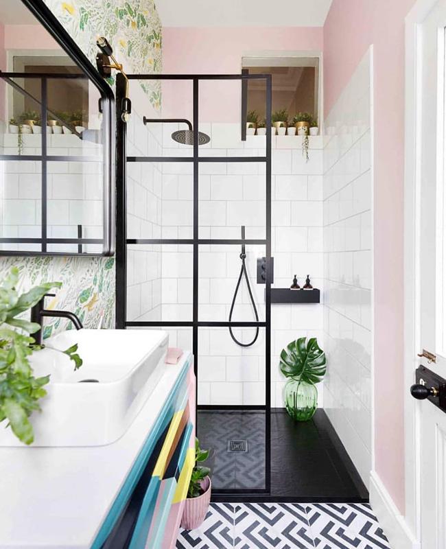 deco salle de bain noir rose boheme