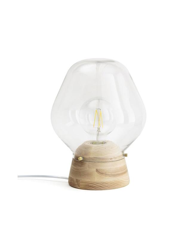 lampe verre bois