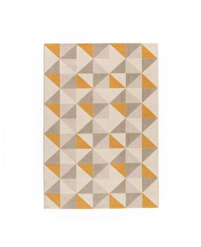 tapis geometrique jaune gris scandinave