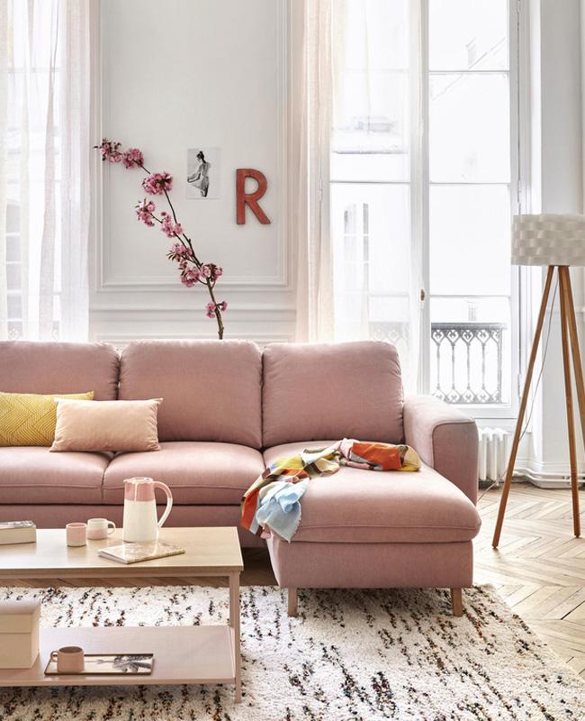 deco beige rose salon canape