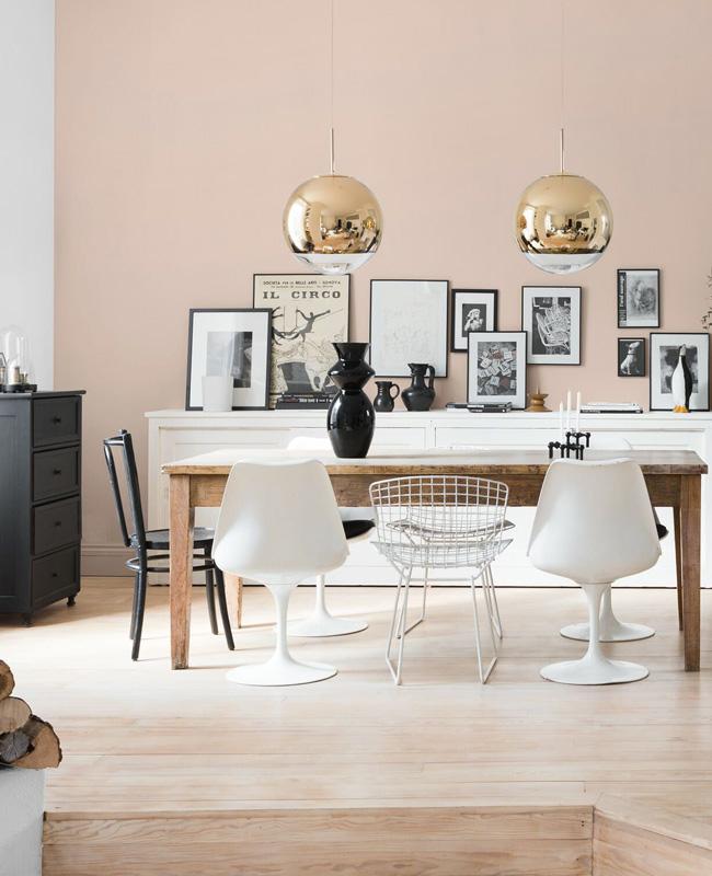 deco beige rose salle a manger mur