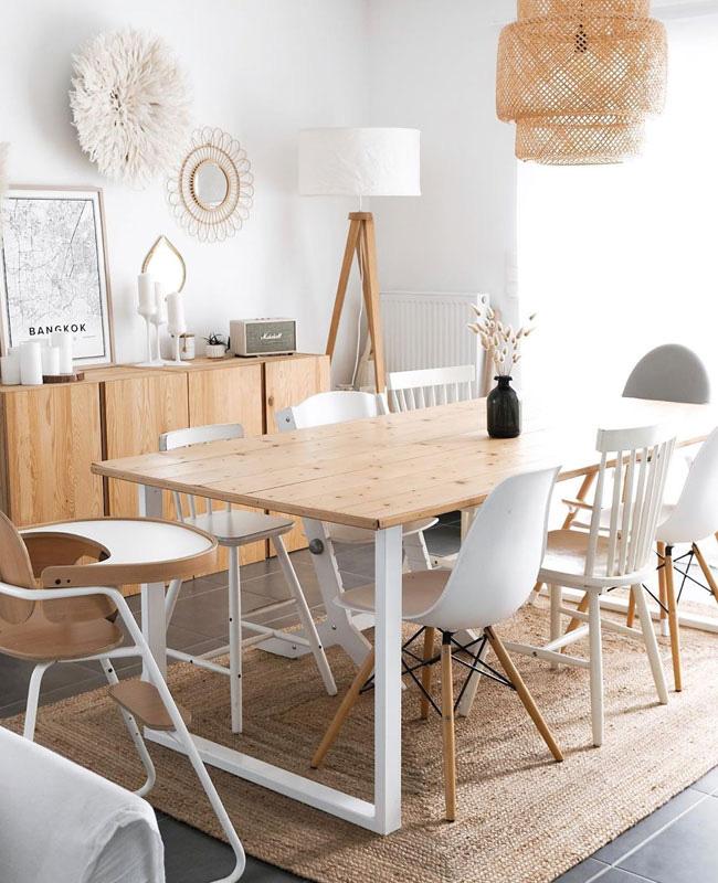 deco blanc bois salle a manger scandinave