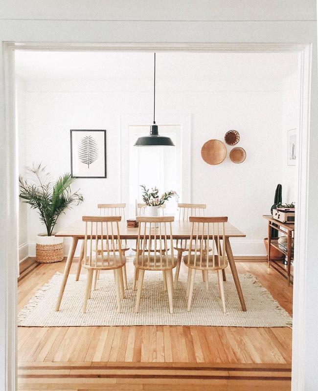deco blanc bois salle a manger vintage