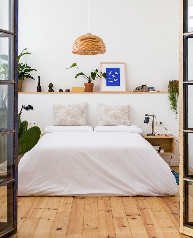 deco blanc bois chambre minimaliste
