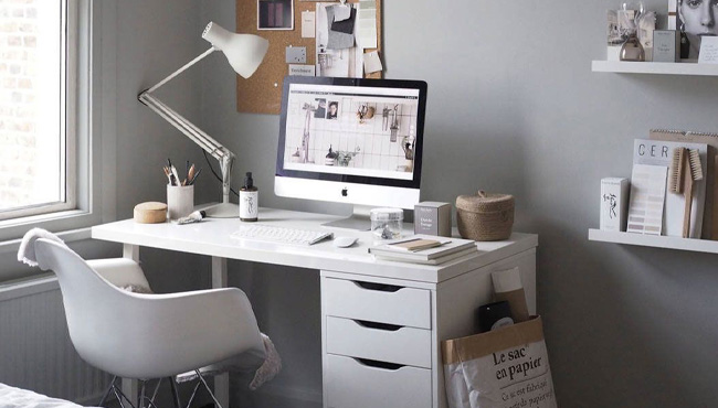 deco bureau gris blanc