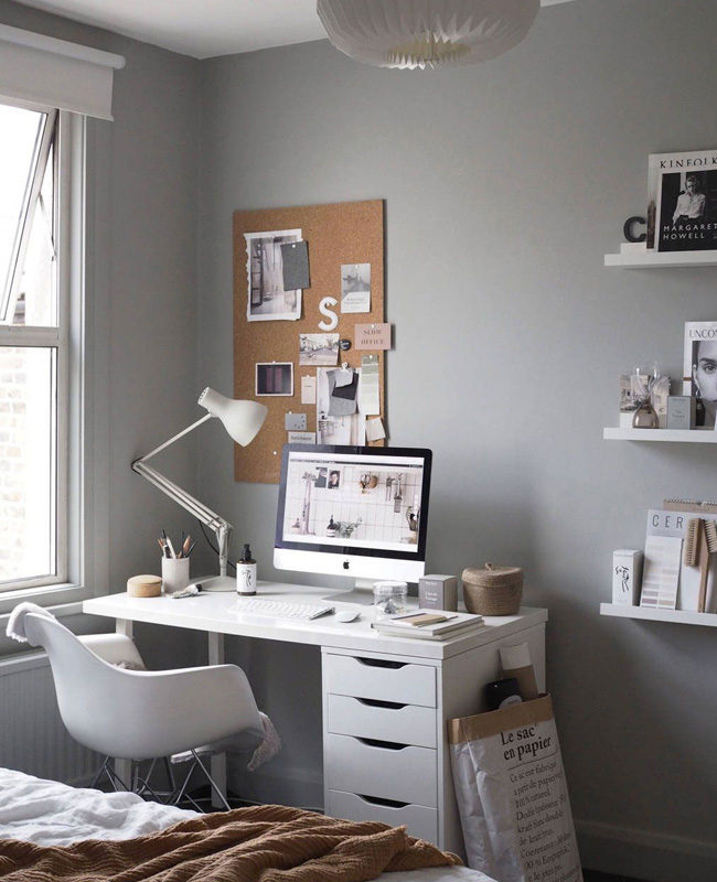 deco bureau gris blanc moderne