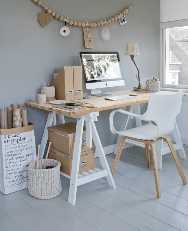 deco bureau gris blanc scandinave