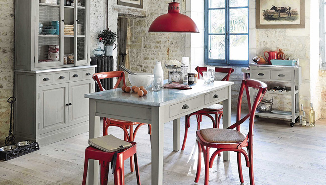 deco cuisine campagne rouge
