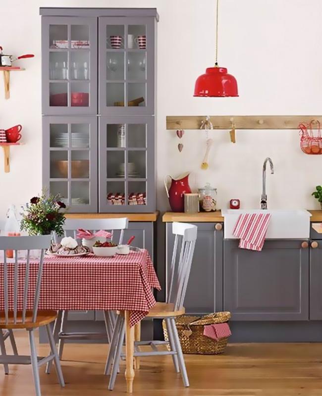 deco cuisine campagne rouge textiles