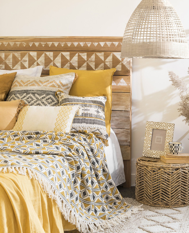 deco chambre boheme ethnique motifs linge de lit