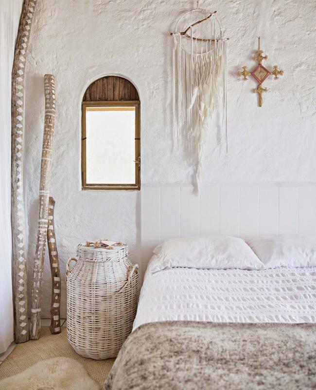 deco chambre boheme ethnique accessoires bois