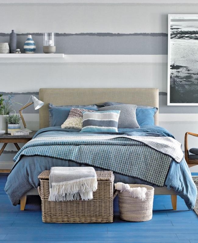 deco chambre bord de mer bleu beige