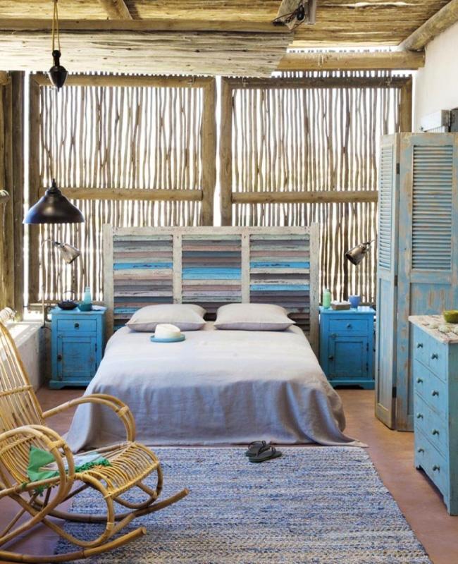 deco chambre bord de mer bleu meubles