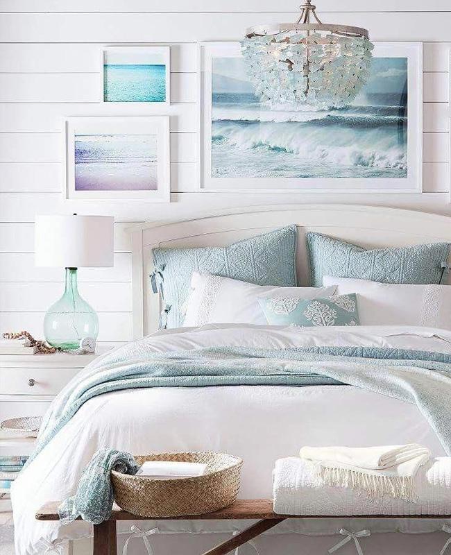 deco chambre bord de mer chic bois blanc