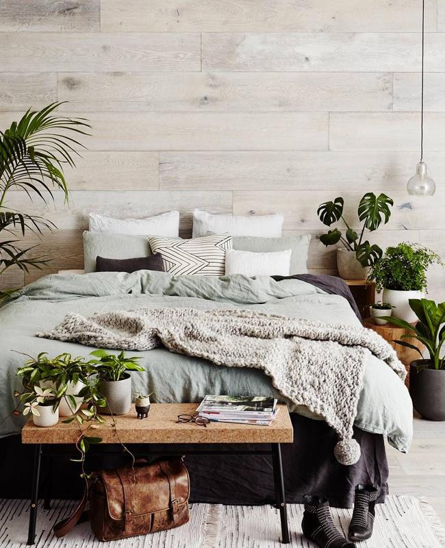 deco chambre nature vert linge mur plante