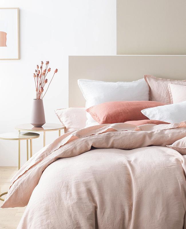deco chambre rose linge de lit lin