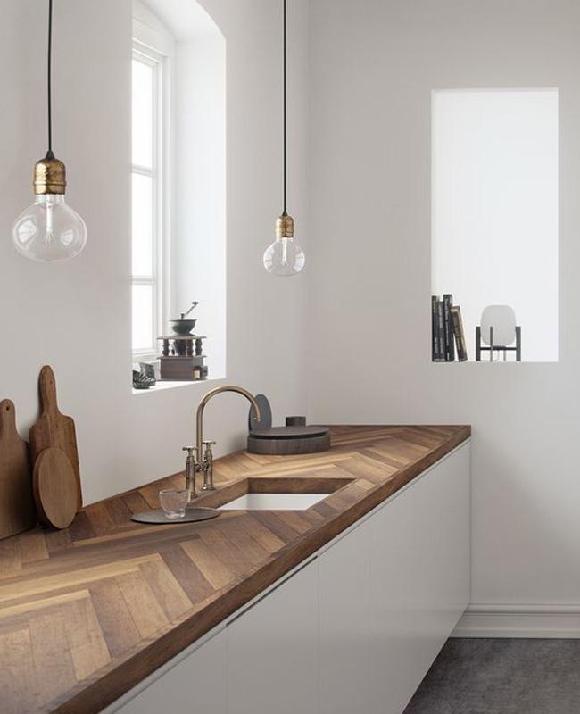 deco cuisine blanc bois minimaliste