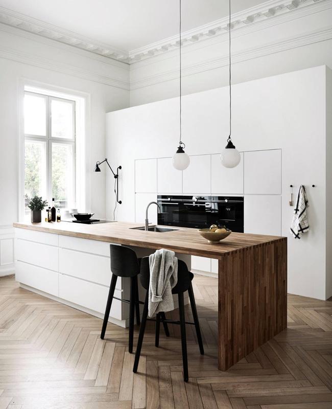 deco cuisine blanc noir bois