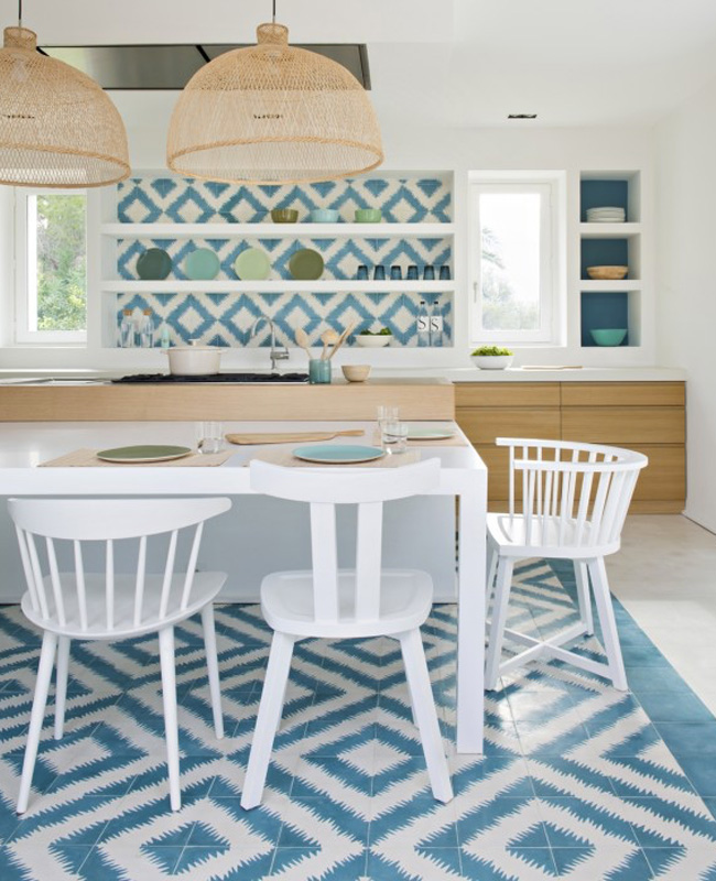 deco cuisine bord de mer moderne bleu blanc
