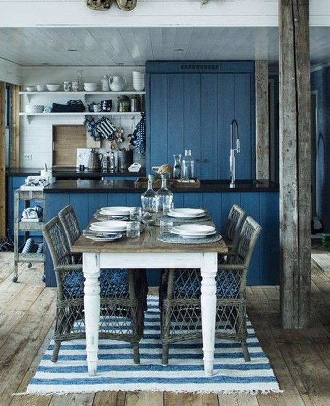 deco cuisine bord de mer bleu rustique