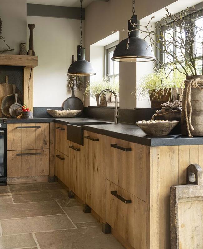 deco cuisine campagne moderne noir bois