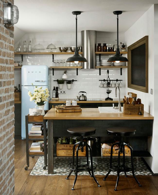 deco cuisine industrielle noire recup bois