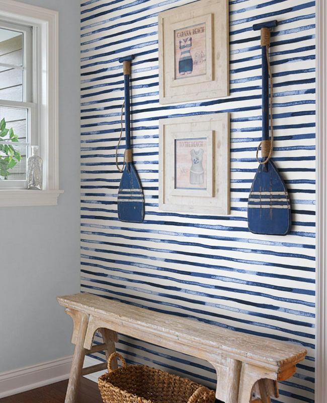 deco entree bord de mer papier peint rayure bleu blanc