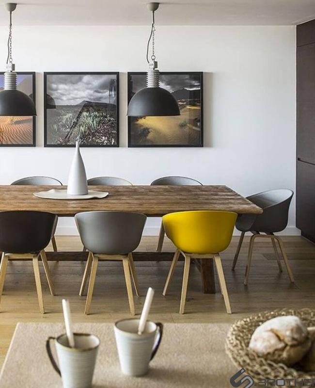 deco jaune moutarde gris salle à manger moderne