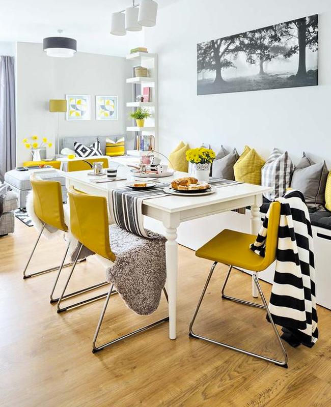 deco jaune moutarde gris salle à manger scandinave