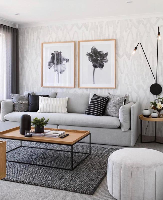 deco moderne gris salon bois