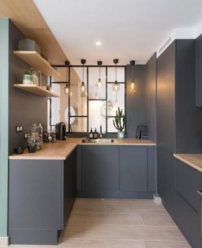 deco moderne gris cuisine bois