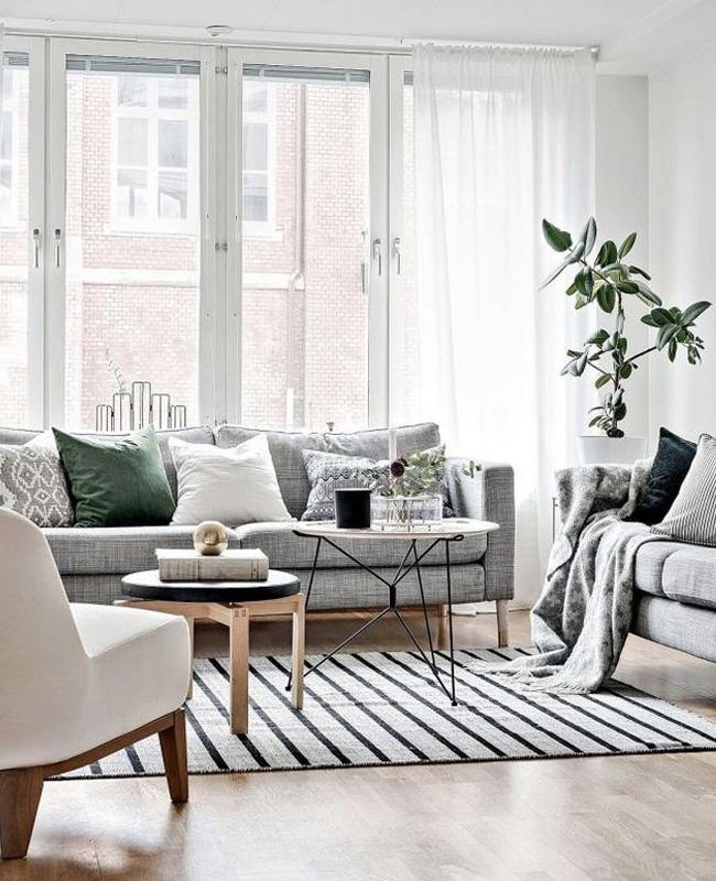 deco moderne gris blanc salon