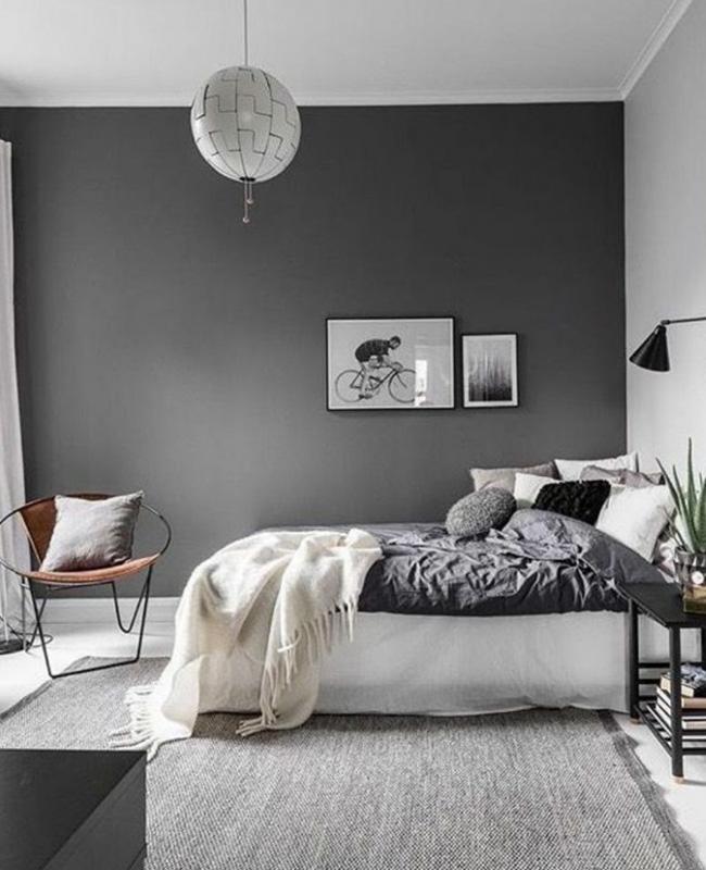 deco moderne gris blanc chambre