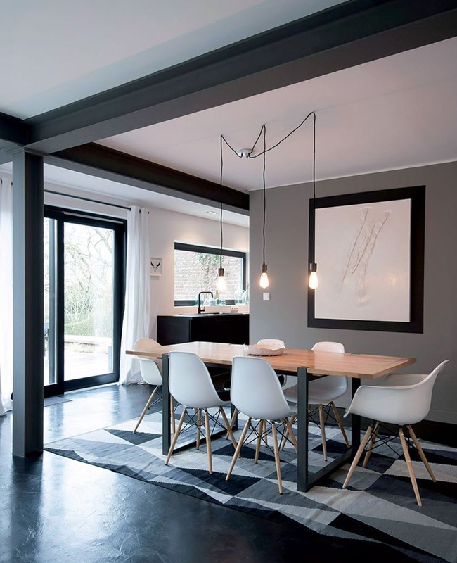 deco moderne gris blanc salle a manger