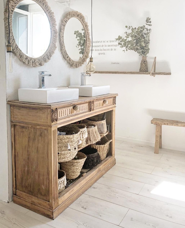 deco salle de bain boheme chic meuble vintage