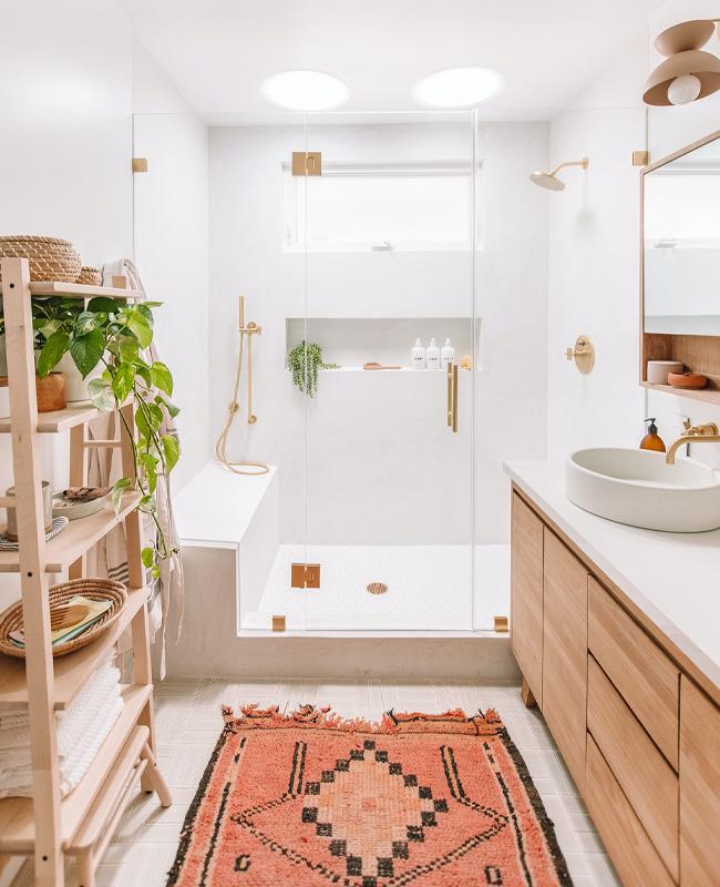 deco salle de bain boheme chic tapis coloré persan