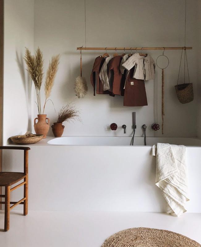 deco salle de bain boheme chic minimaliste épuré