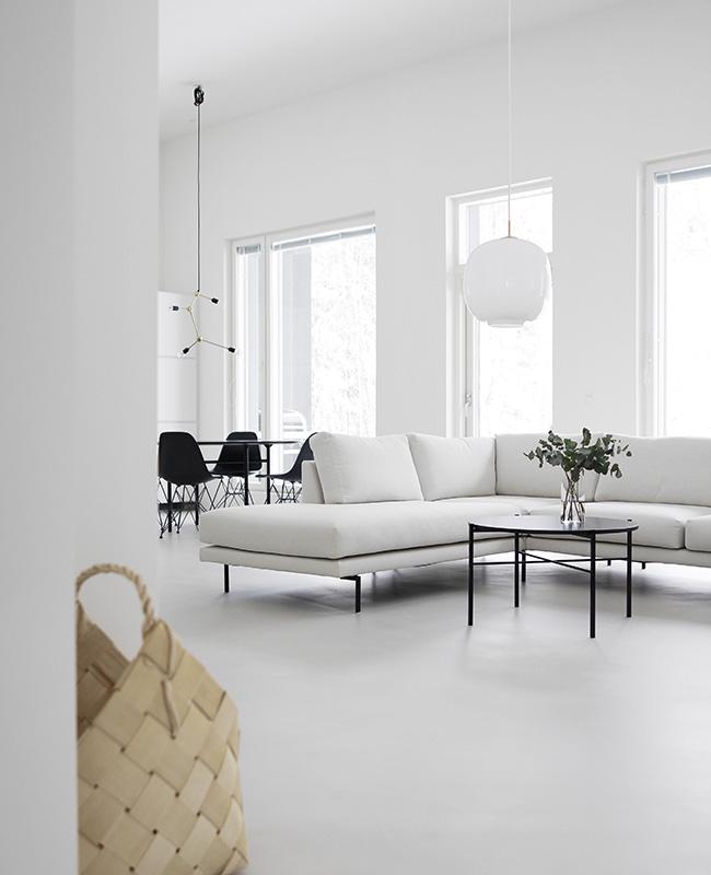 deco salon blanc moderne noir