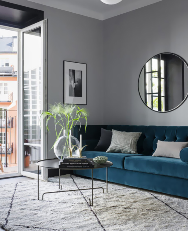 deco salon bleu canard canape moderne