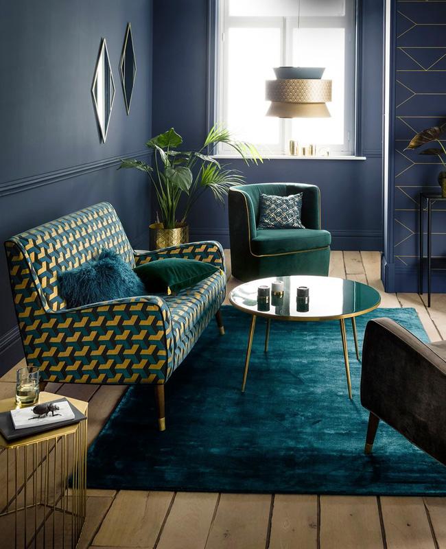 deco salon bleu canard fauteuil art deco