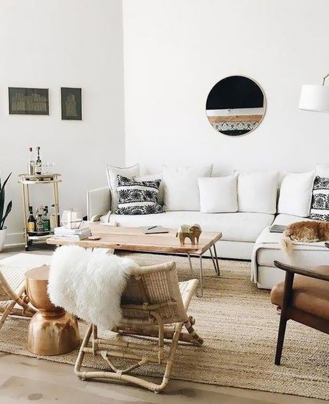 deco salon ethnique scandinave beige blanc noir