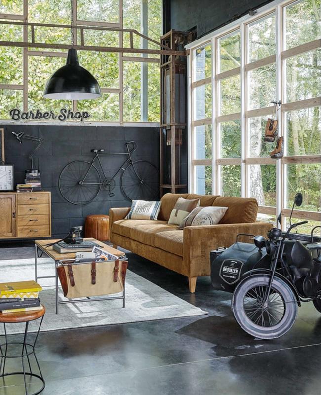 deco salon industriel gris beton