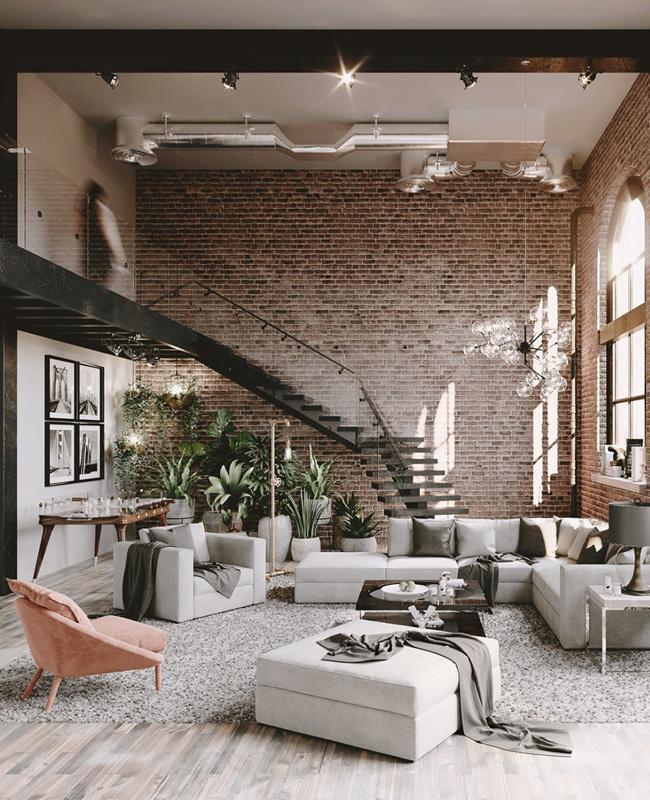 deco salon industriel gris moderne